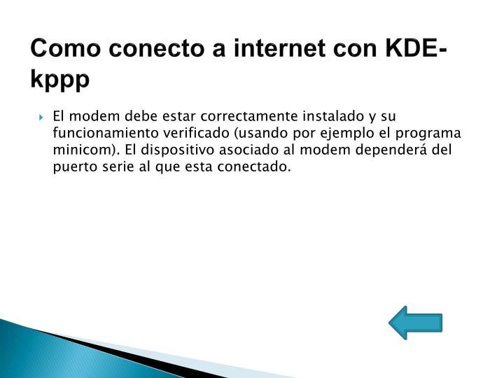 Como conecto a internet con KDE-kppp