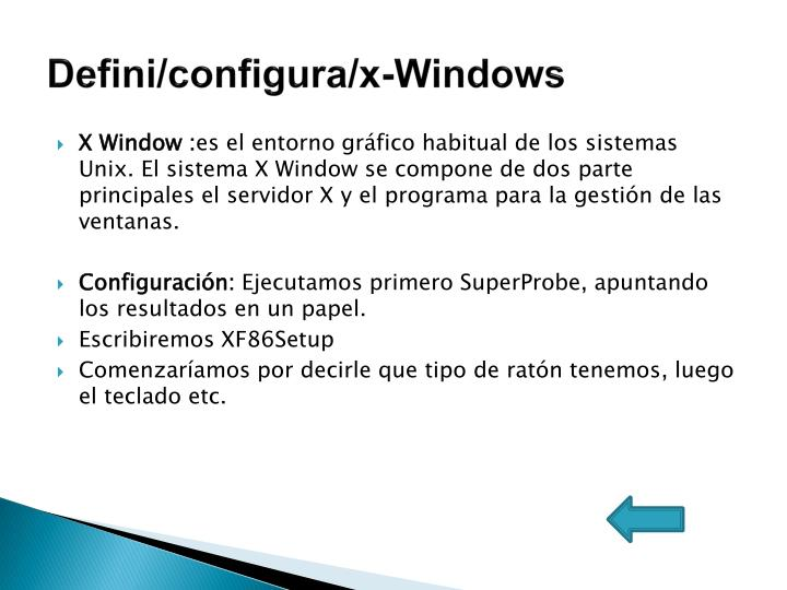 Defini/configura/x-Windows