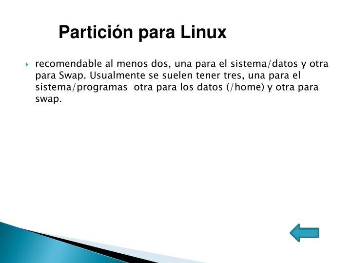 Partición para Linux