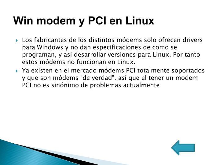 Win modem y PCI en Linux