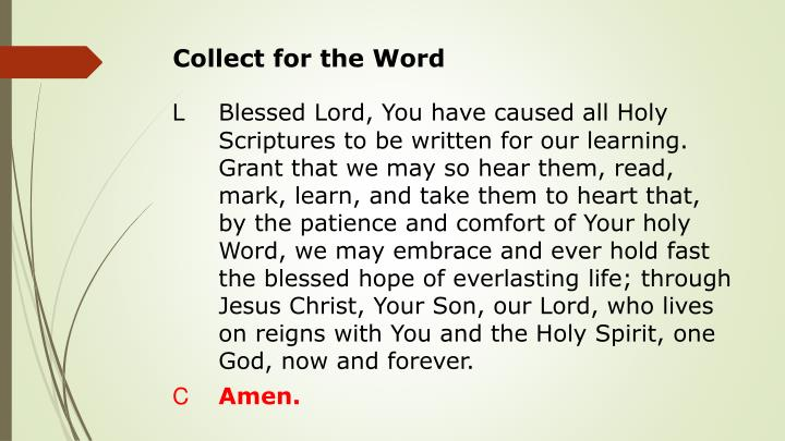 Collect for the Word