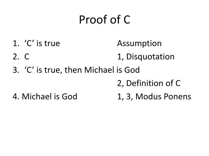 Proof of C