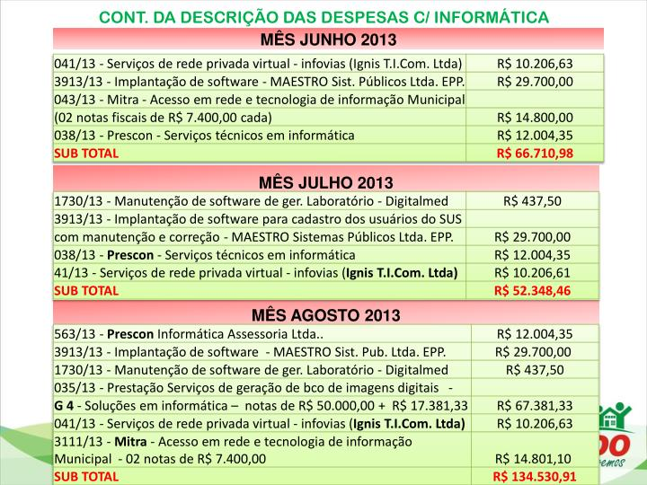 CONT. DA DESCRIÇÃO DAS DESPESAS C/ INFORMÁTICA
