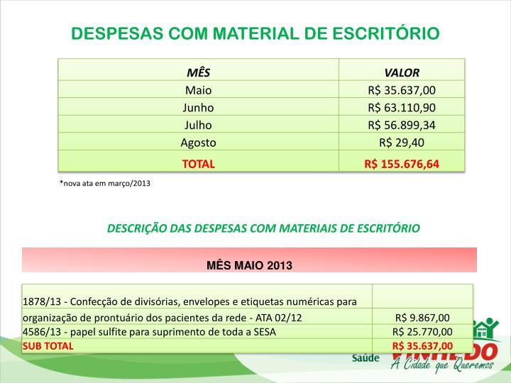 DESPESAS COM MATERIAL DE ESCRITÓRIO