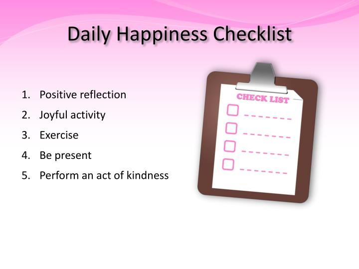 Daily Happiness Checklist