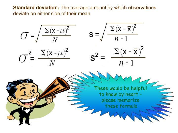 Standard deviation: