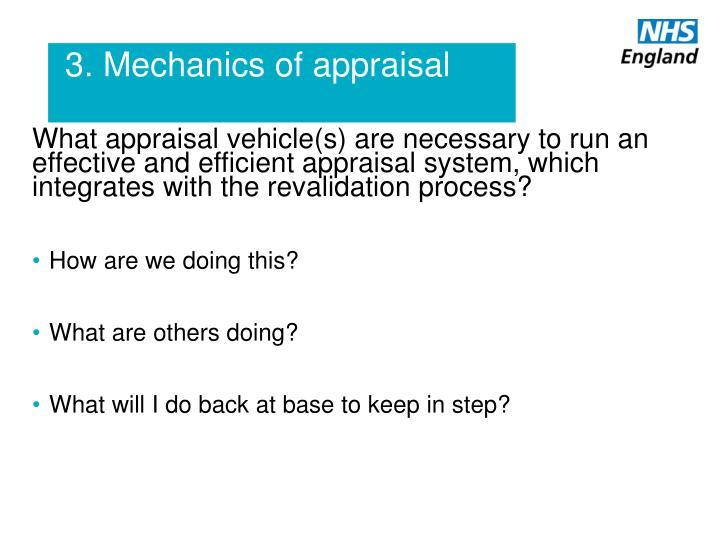 3. Mechanics of appraisal