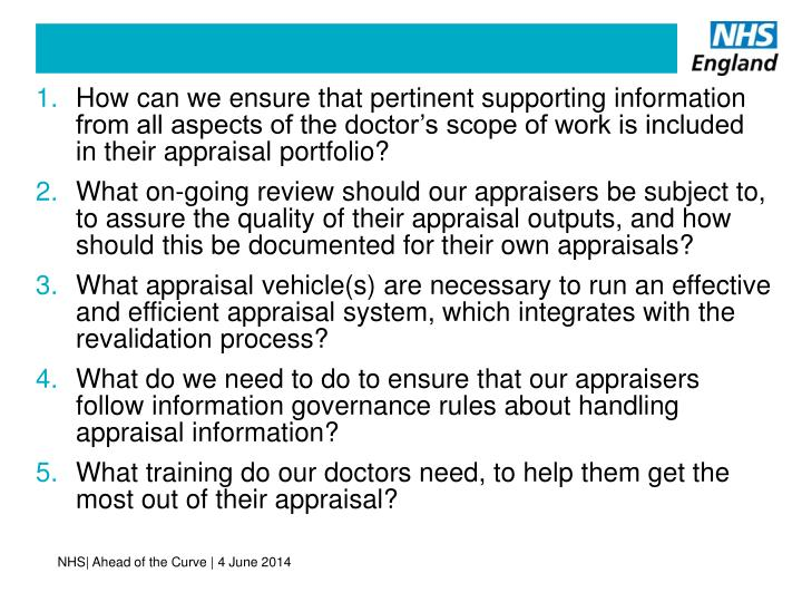 How can we ensure that pertinent supporting information from all aspects of the doctor's scope of work is included in their appraisal portfolio?