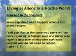 living as aliens in a hostile world126