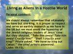 living as aliens in a hostile world63