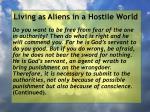 living as aliens in a hostile world8