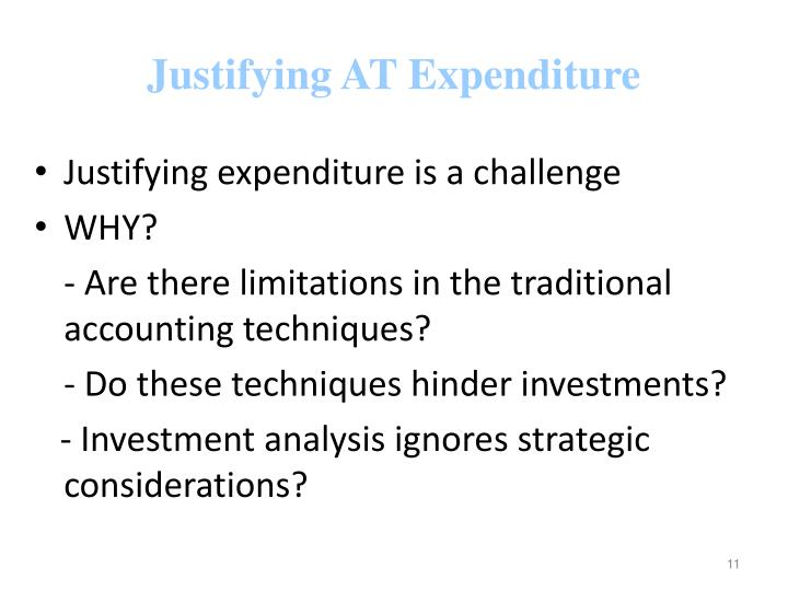 Justifying AT Expenditure