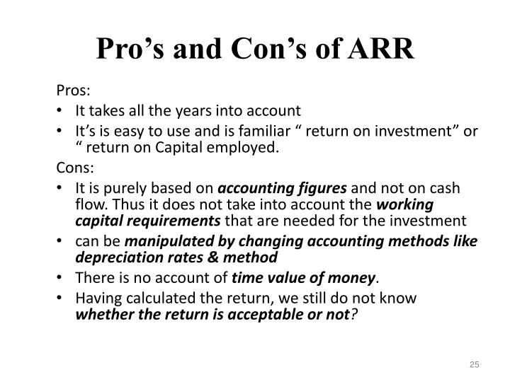 Pro's and Con's of ARR