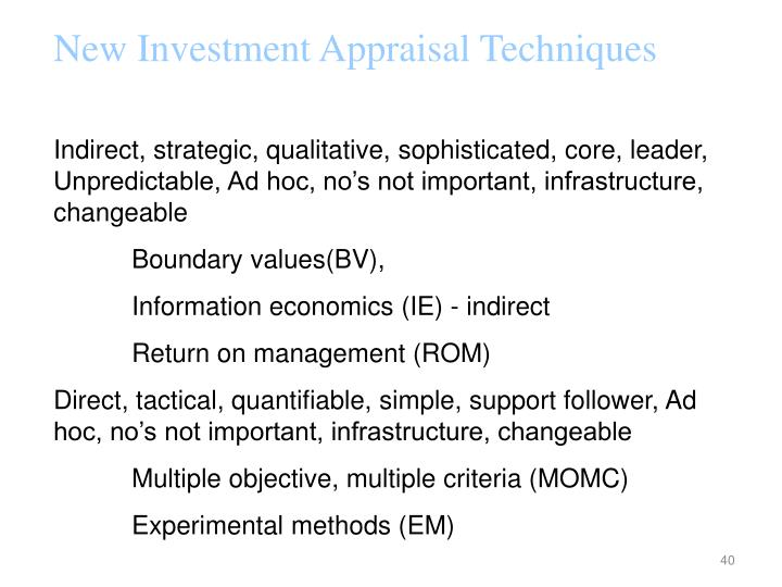 New Investment Appraisal Techniques