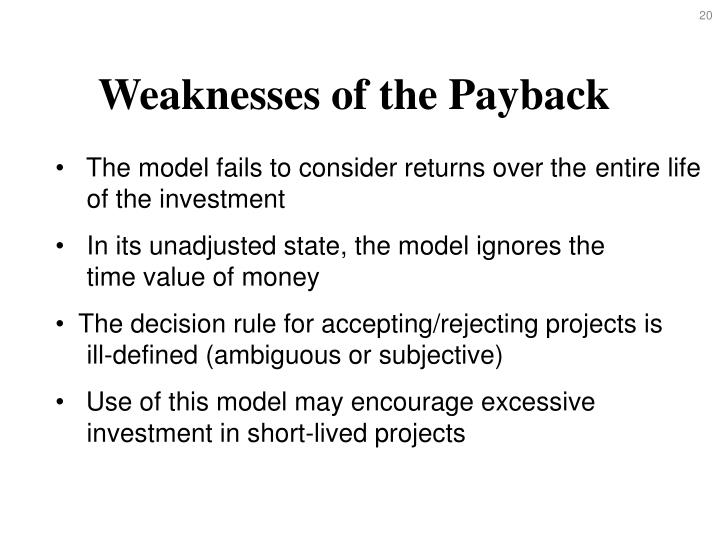 Weaknesses of the Payback