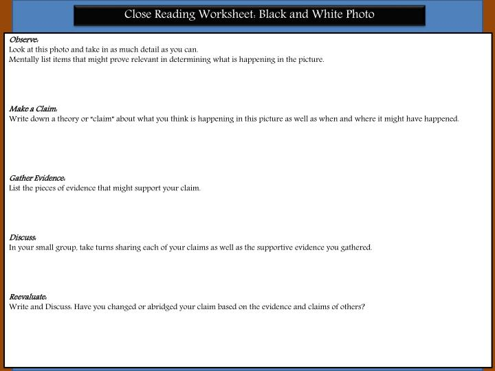 Close Reading Worksheet: Black and White Photo