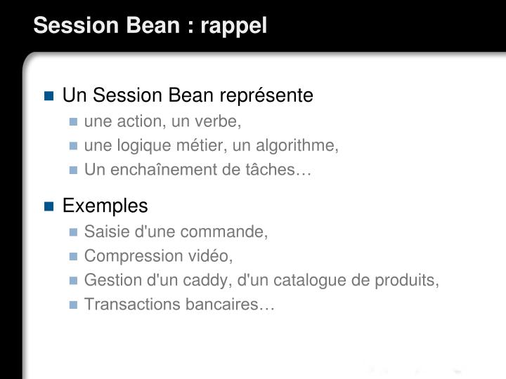 Session Bean : rappel