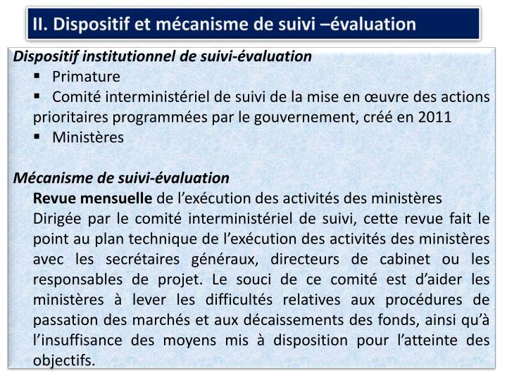 II. Dispositif et mécanisme de suivi –évaluation