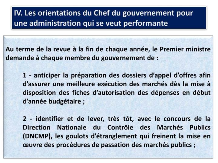IV. Les orientations du Chef du gouvernement pour une administration qui se veut performante