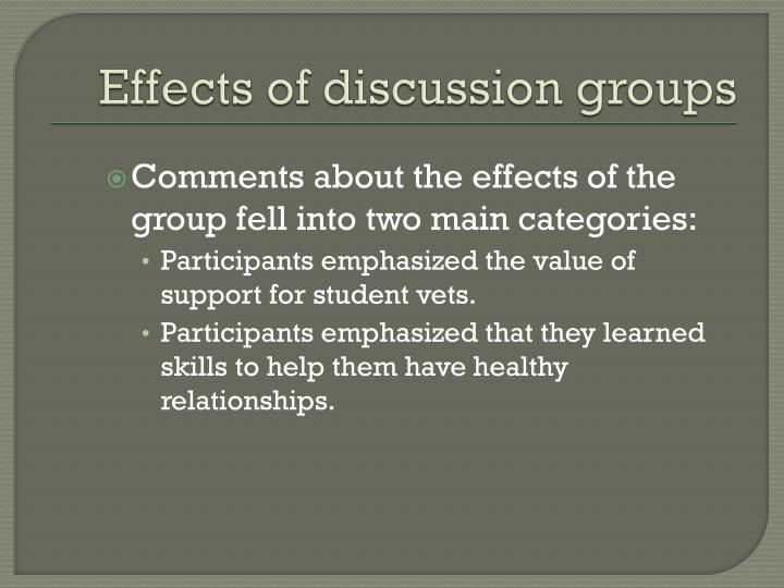 Effects of discussion groups