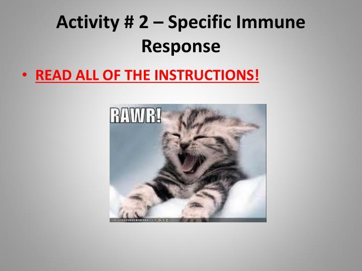 Activity # 2 – Specific Immune Response