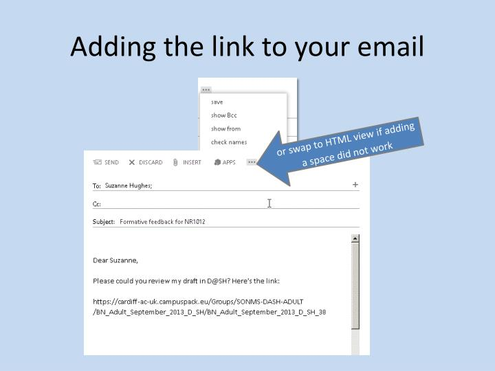 Adding the link to your email