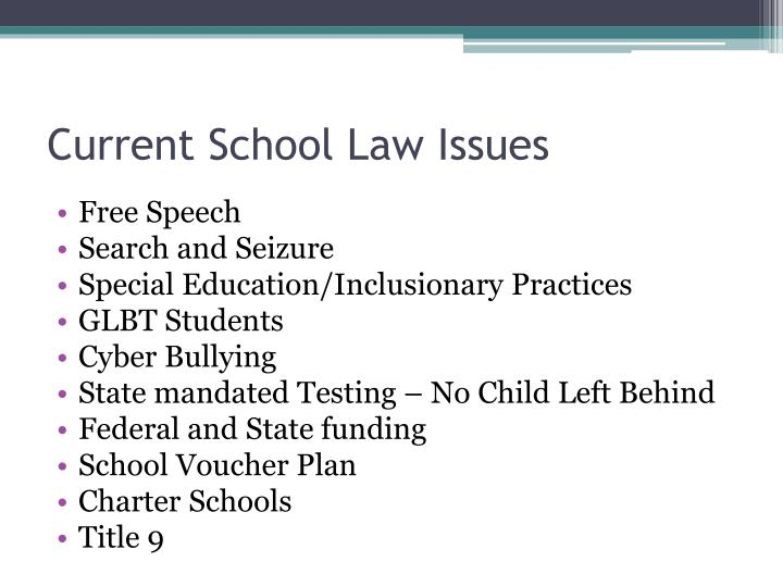 Current School Law Issues