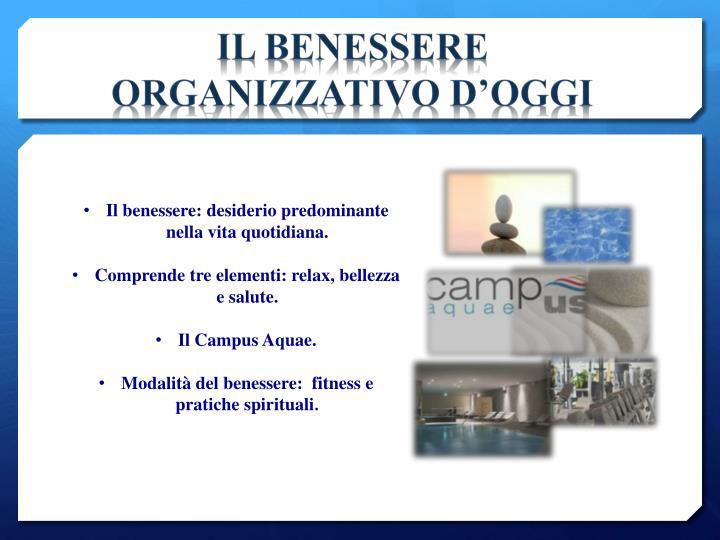 IL BENESSERE ORGANIZZATIVO D'OGGI