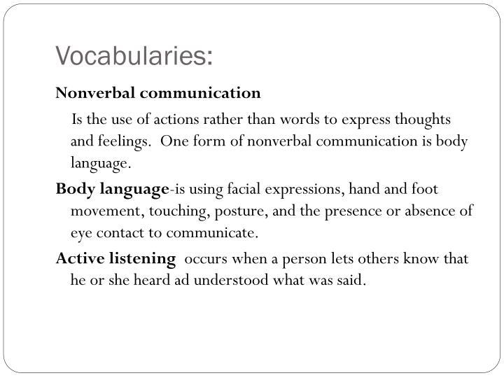Vocabularies: