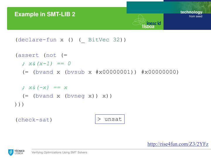 Example in SMT-LIB 2