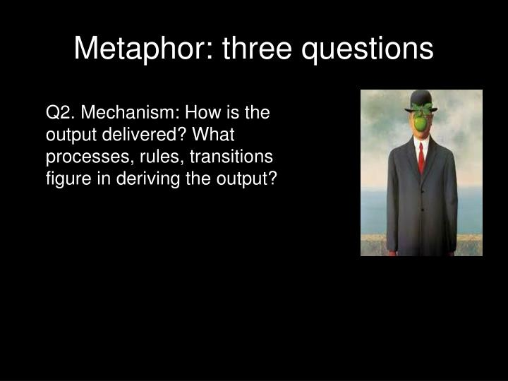 Metaphor: three questions