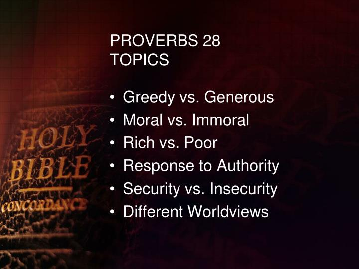 Proverbs 28 topics