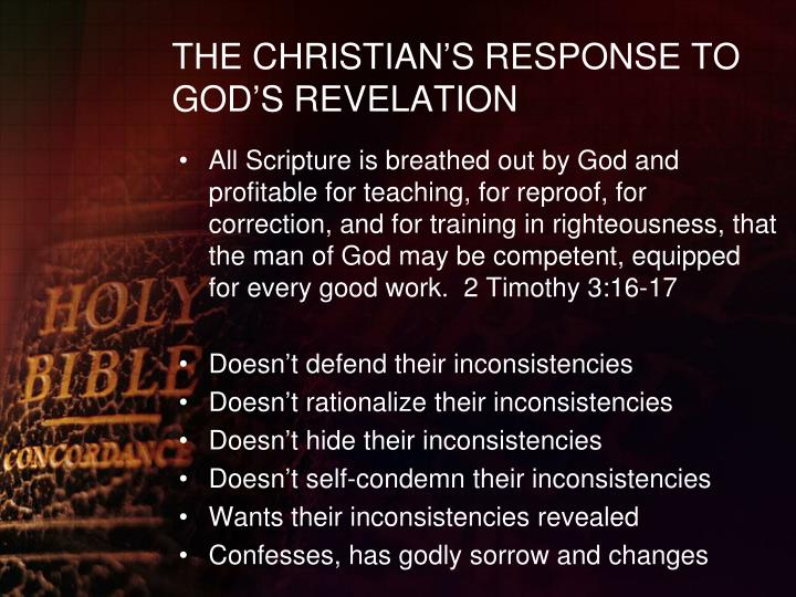 THE CHRISTIAN'S RESPONSE TO GOD'S REVELATION