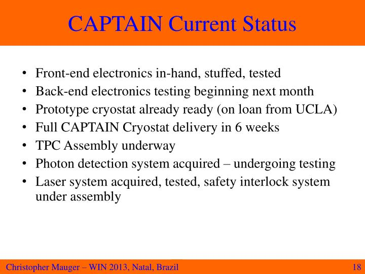 CAPTAIN Current Status