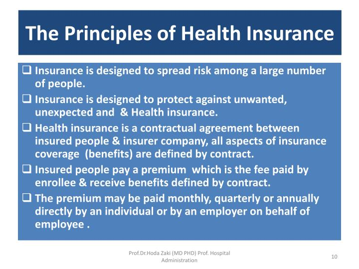 The Principles of Health Insurance