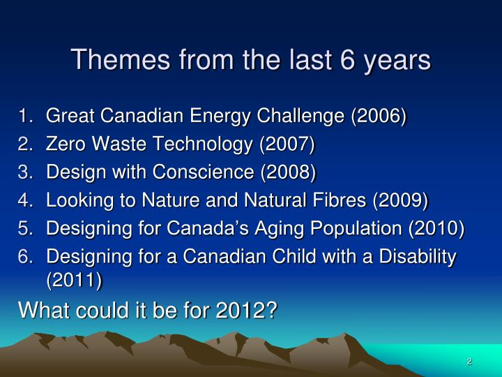 Themes from the last 6 years