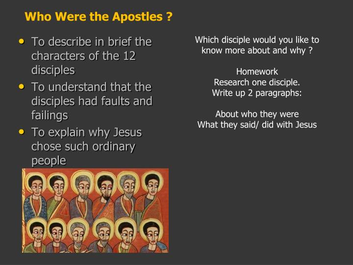 Who Were the Apostles ?