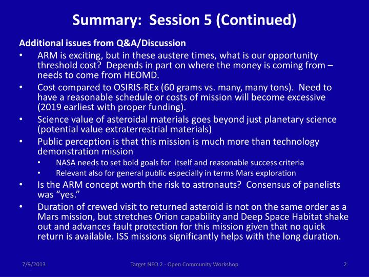 Summary session 5 continued