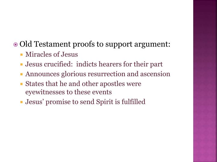 Old Testament proofs to support argument: