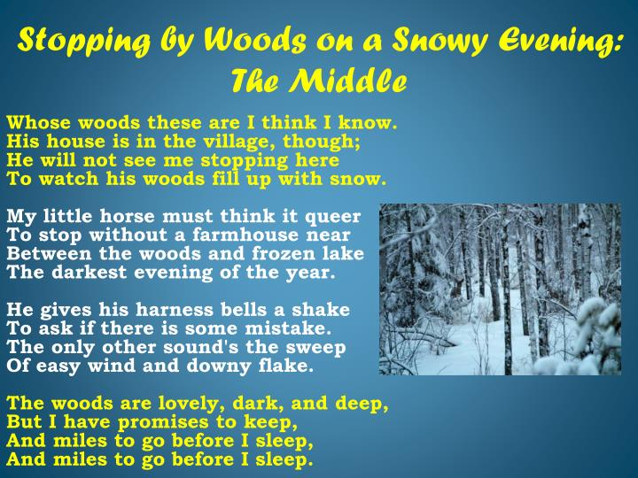 Stopping by woods on a snowy evening the middle