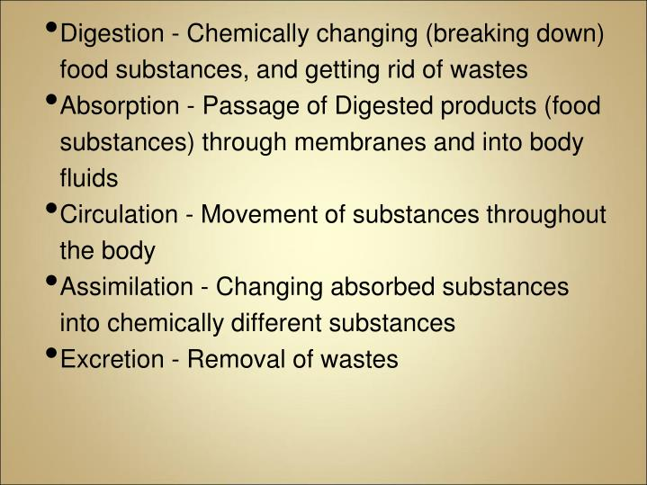 Digestion - Chemically changing (breaking down) food substances, and getting rid of wastes