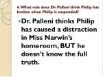 6 what rule does dr palleni think philip has broken when philip is suspended
