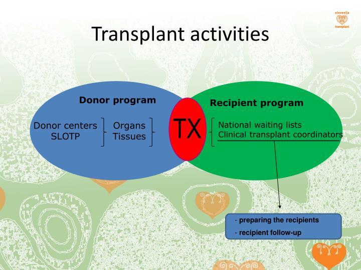 Transplant activities