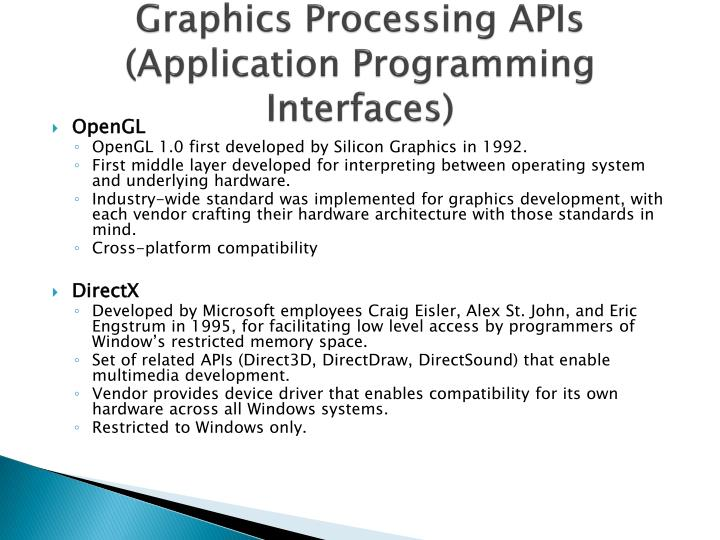 Graphics Processing APIs (Application Programming Interfaces)