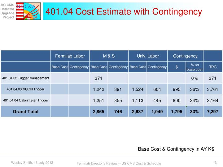 401 04 cost estimate with contingency