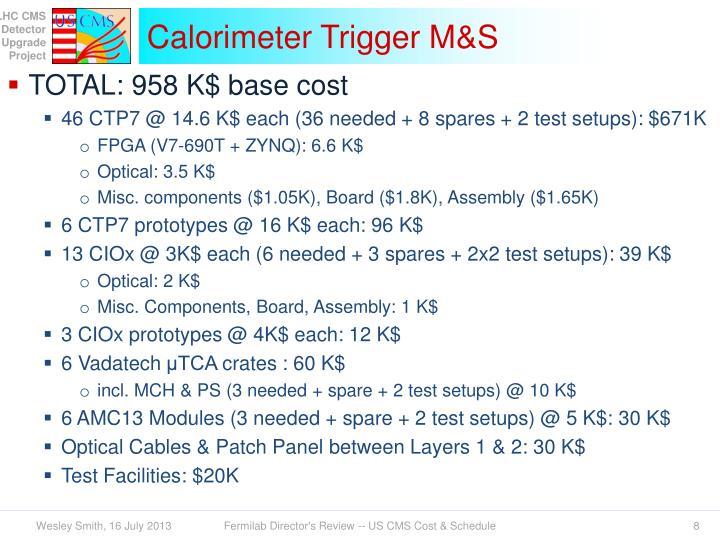 Calorimeter Trigger M&S