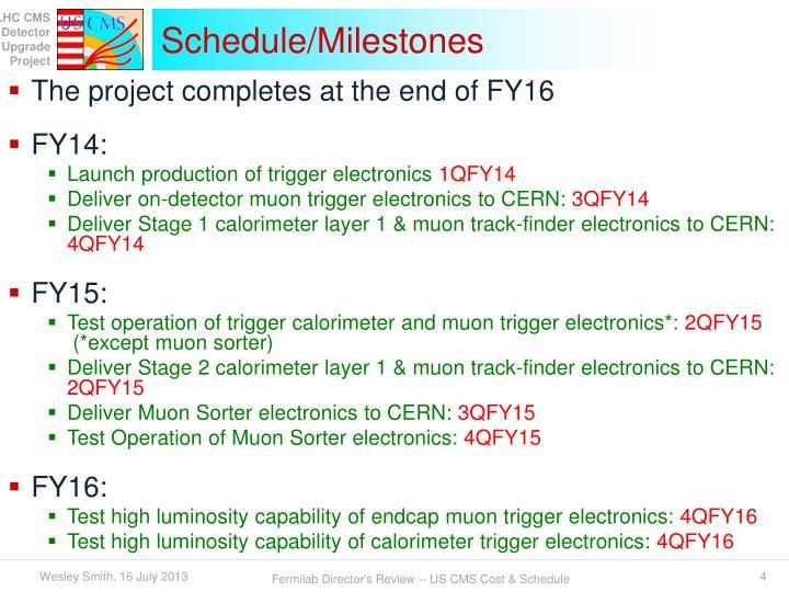 Schedule/Milestones