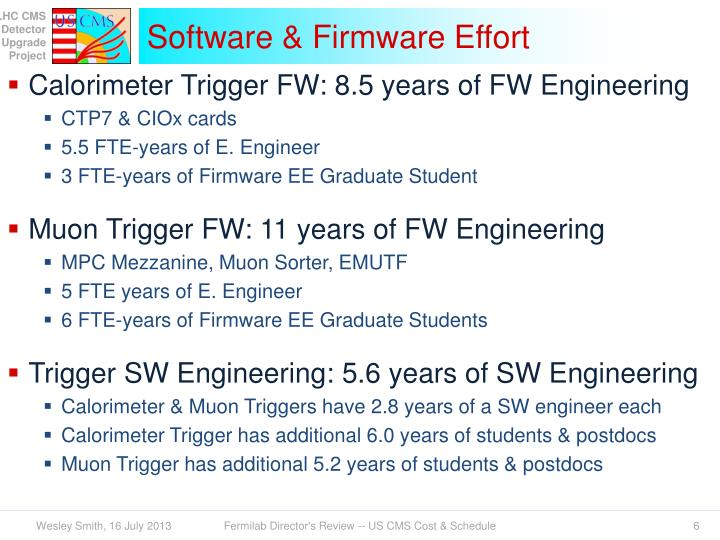 Software & Firmware Effort