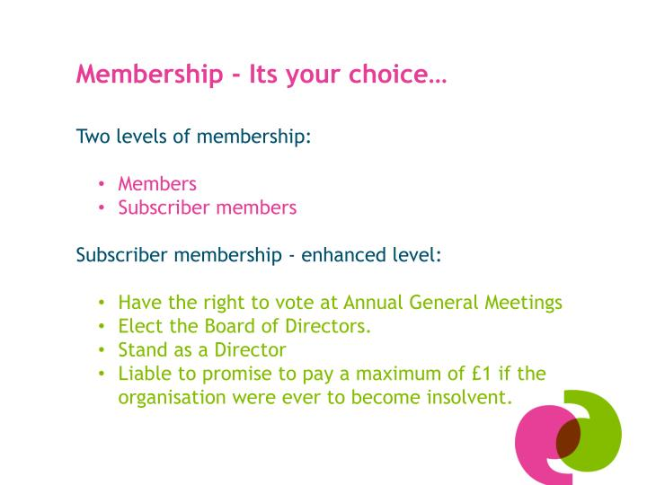 Membership - Its your choice…