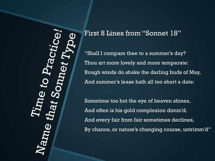 "First 8 Lines from ""Sonnet 18"""